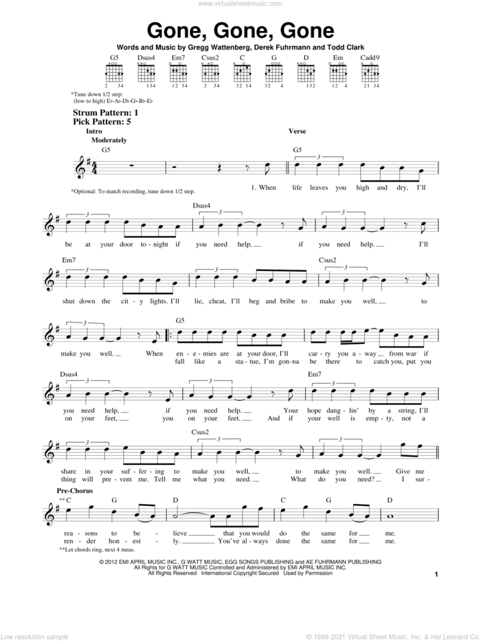 Gone, Gone, Gone sheet music for guitar solo (chords) by Phillip Phillips, Derek Fuhrmann, Gregg Wattenberg and Todd Clark, easy guitar (chords)