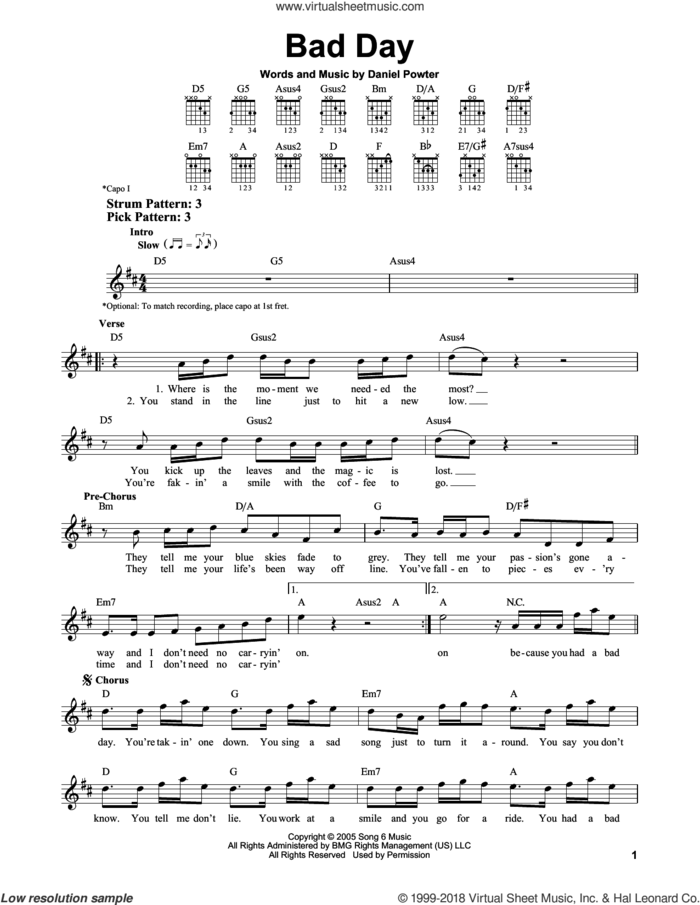 Bad Day sheet music for guitar solo (chords) by Daniel Powter, easy guitar (chords)