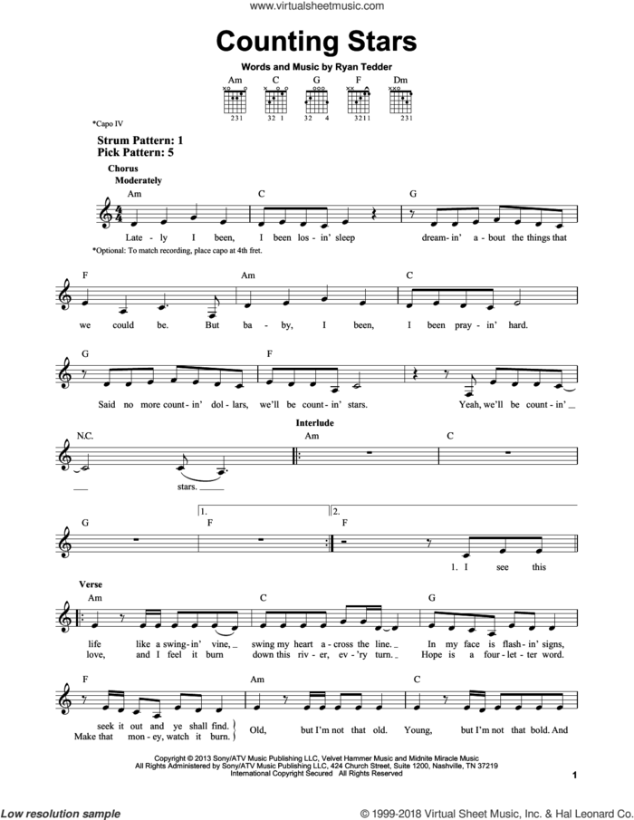 Counting Stars sheet music for guitar solo (chords) by OneRepublic and Ryan Tedder, easy guitar (chords)