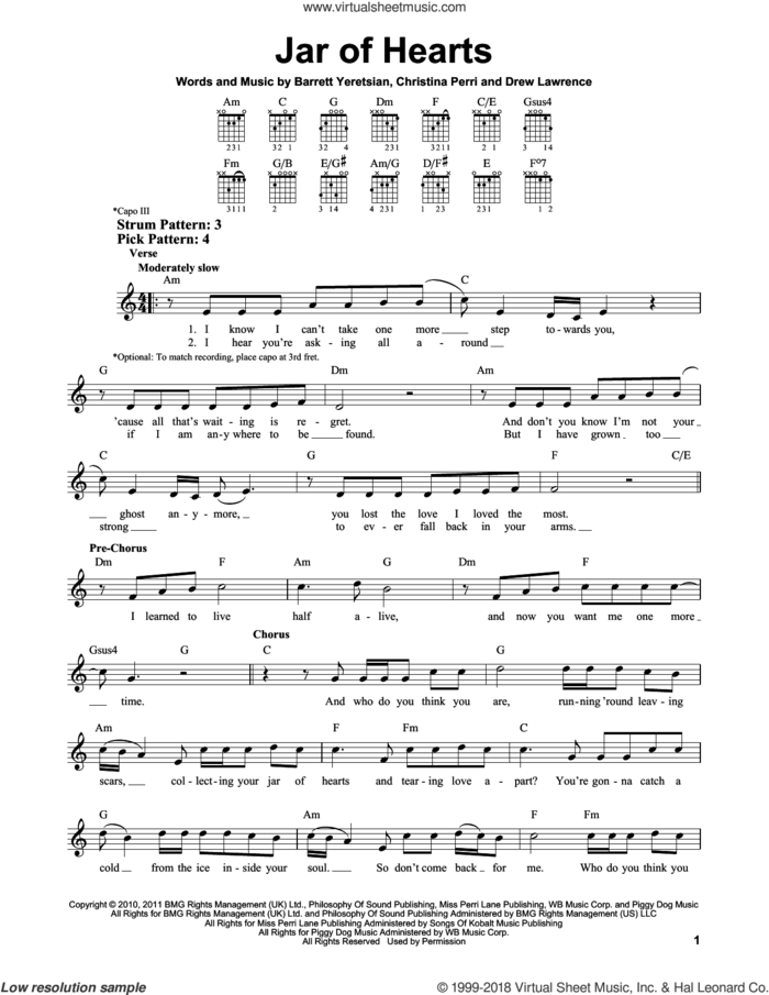 Jar Of Hearts sheet music for guitar solo (chords) by Christina Perri, Barrett Yeretsian and Drew Lawrence, easy guitar (chords)