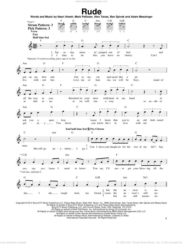 Rude sheet music for guitar solo (chords) by MAGIC!, Adam Messinger, Alex Tanas, Ben Spivak, Mark Pellizzer and Nasri Atweh, easy guitar (chords)