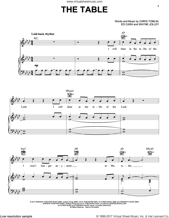 The Table sheet music for voice, piano or guitar by Chris Tomlin, Ed Cash and Wayne Jolley, intermediate skill level