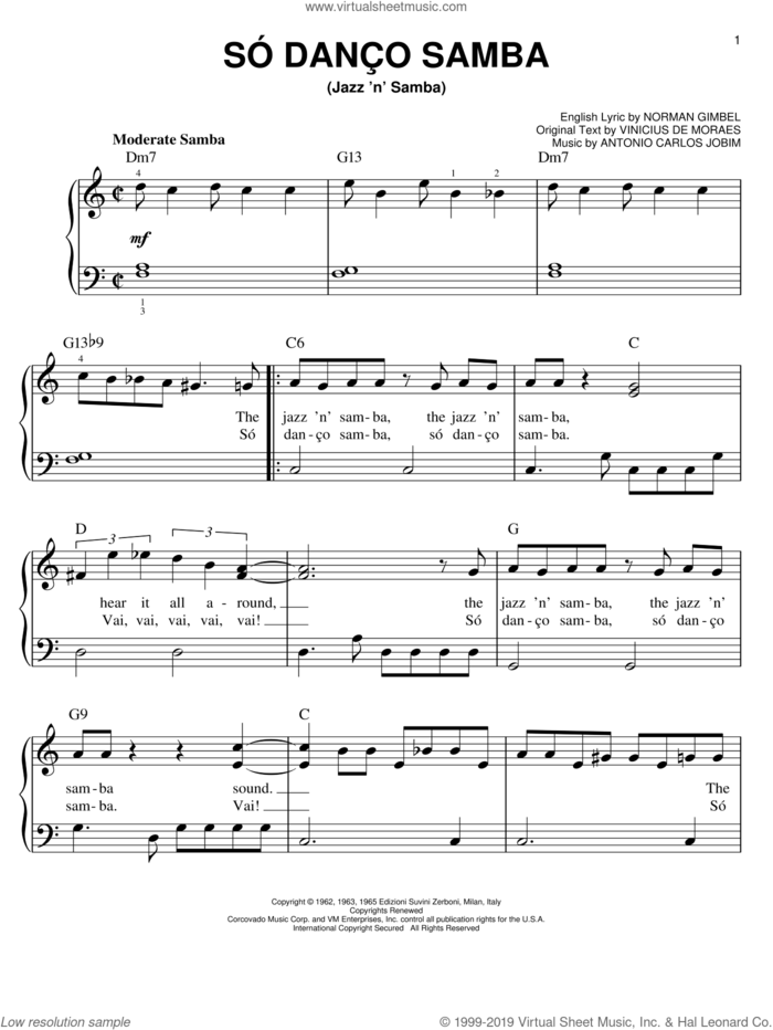 Jazz 'N' Samba sheet music for piano solo by Antonio Carlos Jobim, Norman Gimbel and Vinicius de Moraes, easy skill level