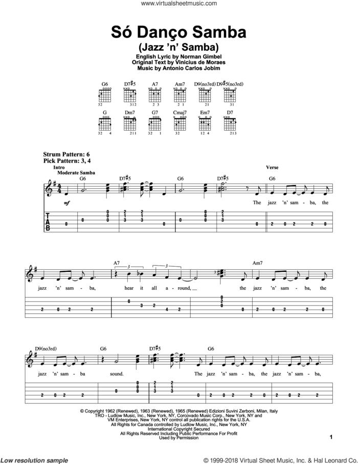 Jazz 'N' Samba sheet music for guitar solo (easy tablature) by Antonio Carlos Jobim, Norman Gimbel and Vinicius de Moraes, easy guitar (easy tablature)