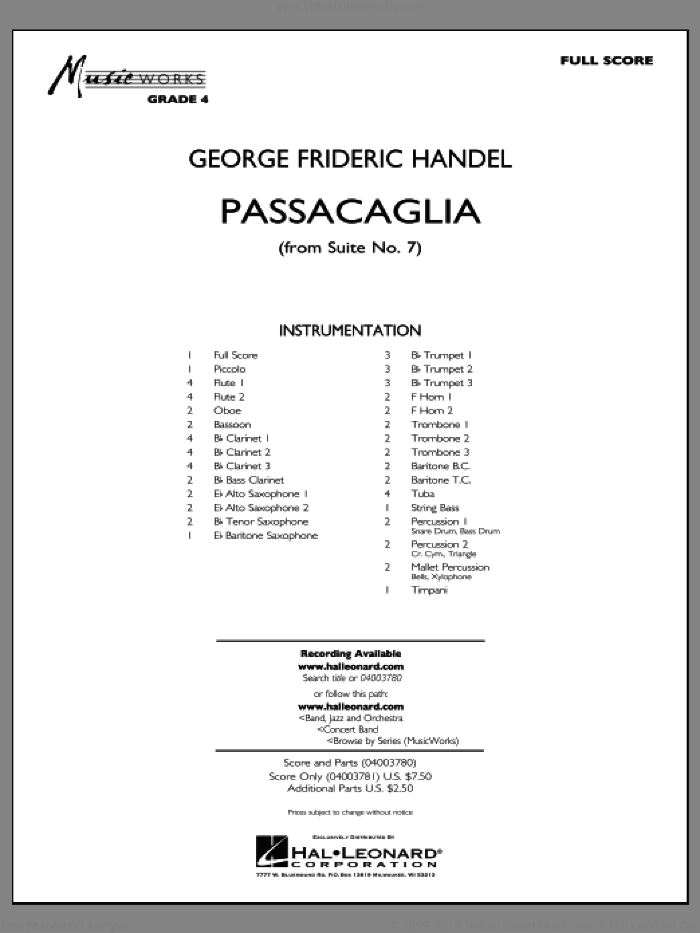 Passacaglia (from Suite No. 7) (COMPLETE) sheet music for concert band by George Frideric Handel and Robert Longfield, classical score, intermediate skill level