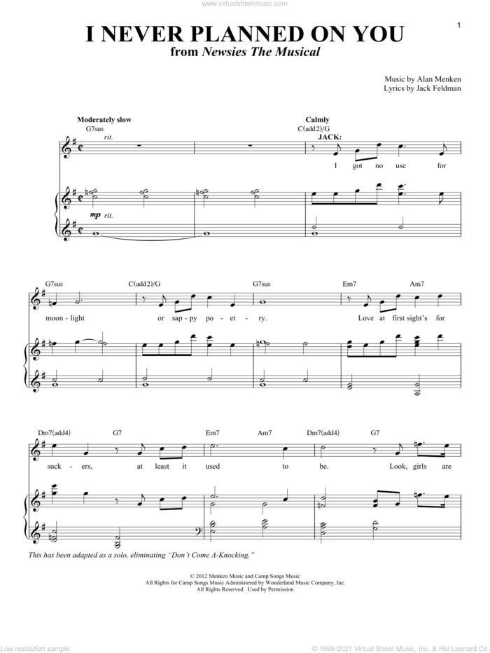 I Never Planned On You/Don't Come A-Knocking sheet music for voice and piano by Alan Menken and Jack Feldman, intermediate skill level
