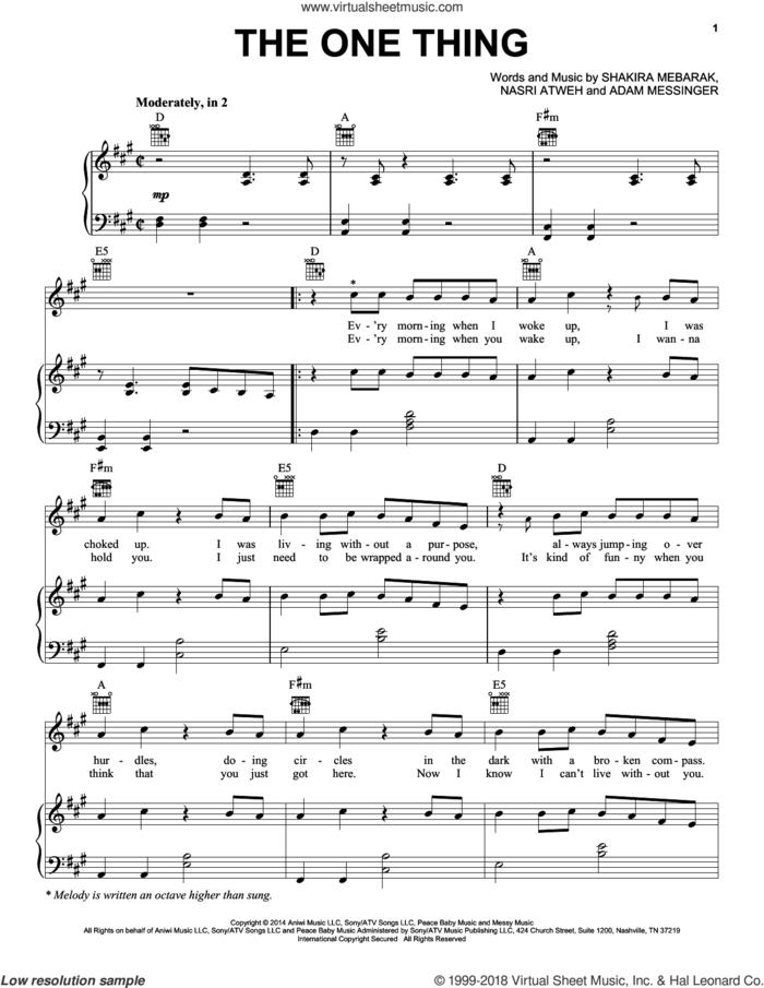 The One Thing sheet music for voice, piano or guitar by Shakira, Adam Messinger, Nasri Atweh and Shakira Mebarak, intermediate skill level