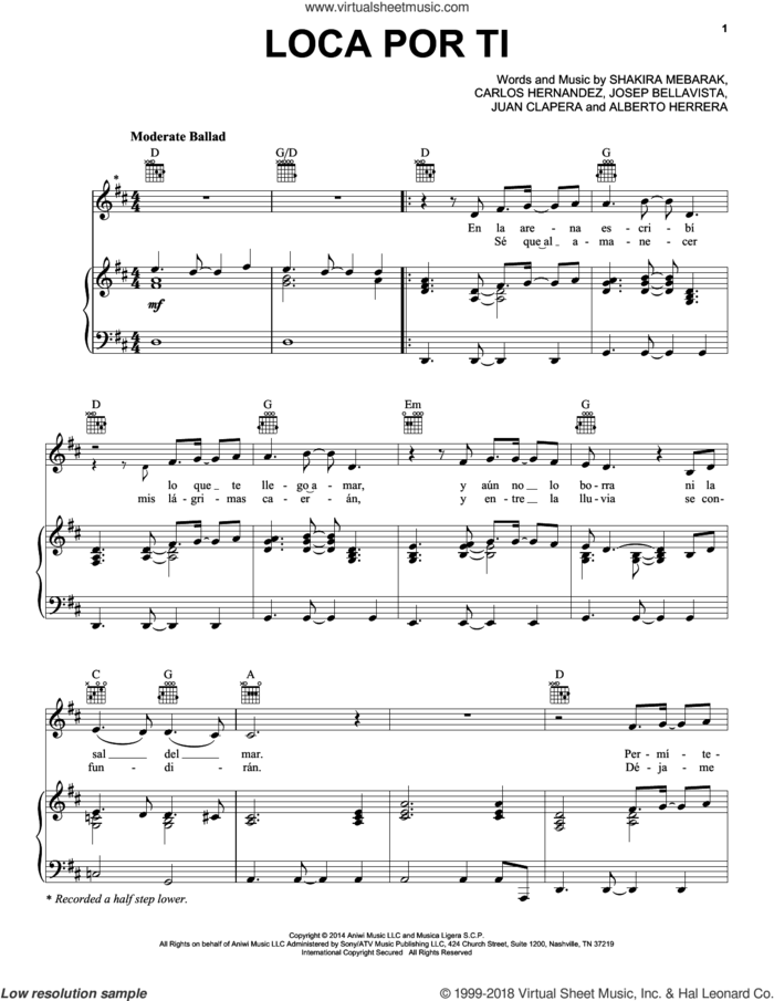 Loca Por Ti sheet music for voice, piano or guitar by Shakira, Alberto Herrera, Carlos Hernandez, Josep Bellavista, Juan Clapera and Shakira Mebarak, intermediate skill level