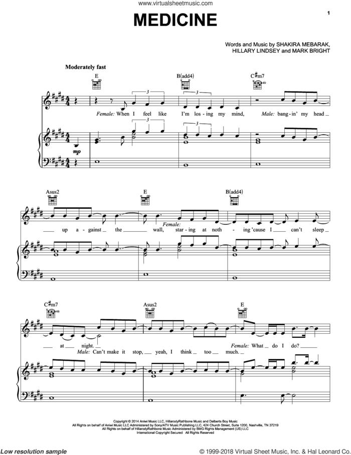 Medicine sheet music for voice, piano or guitar by Shakira, Hillary Lindsey, Mark Bright and Shakira Mebarak, intermediate skill level