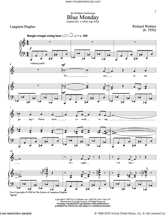 Blue Monday sheet music for voice and piano (High Voice) by Langston Hughes and Richard Walters, classical score, intermediate skill level