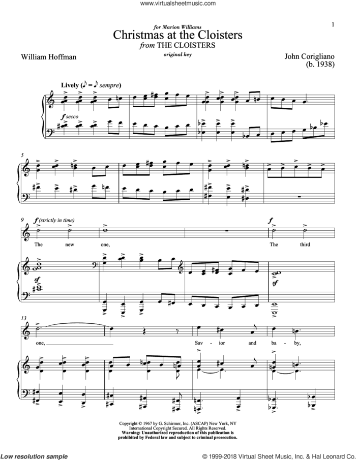 Christmas At The Cloisters sheet music for voice and piano (High Voice) by William Hoffman, Richard Walters and John Corigliano, classical score, intermediate skill level