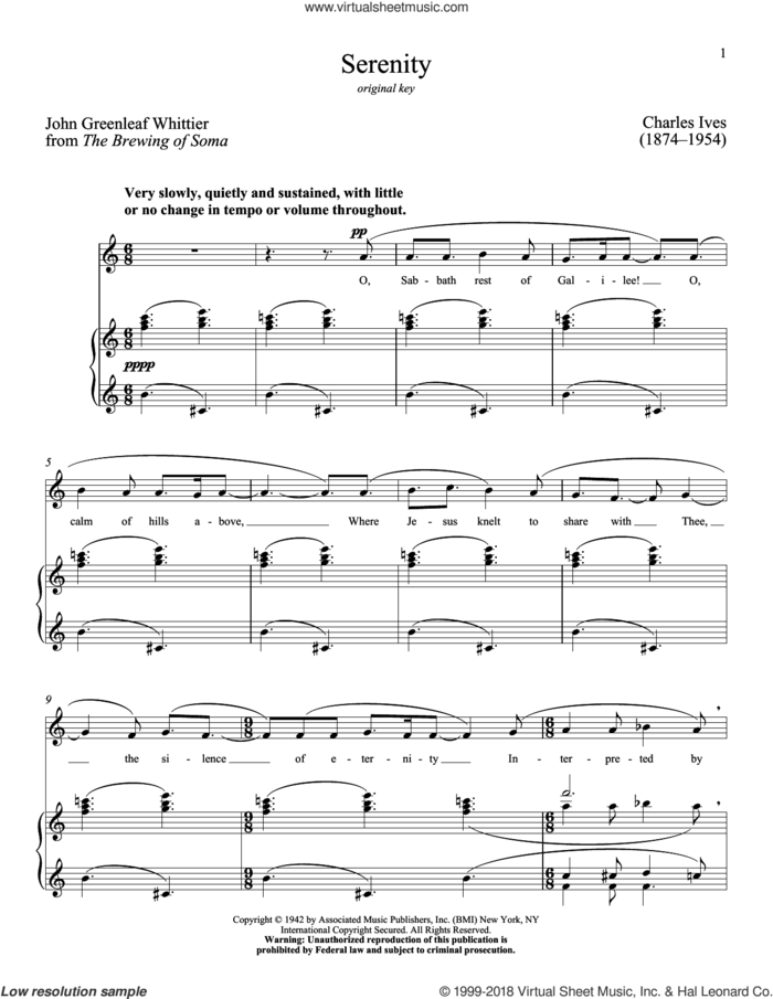 Serenity sheet music for voice and piano (High Voice) by Richard Walters, Charles Ives and John Greenleaf Whittier, classical score, intermediate skill level