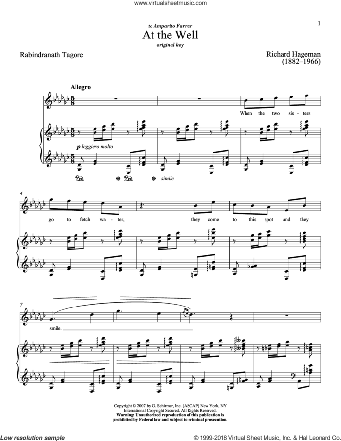 At The Well sheet music for voice and piano (High Voice) by Richard Hageman, Richard Walters and Rabindranath Tagore, classical score, intermediate skill level