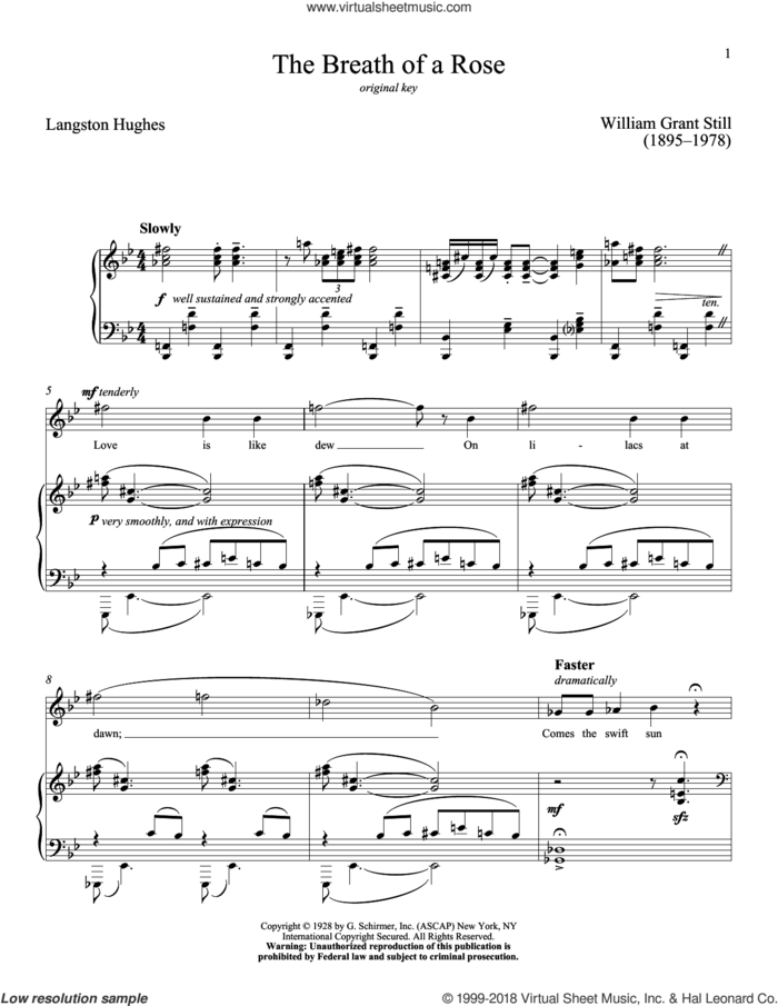 The Breath Of A Rose sheet music for voice and piano (High Voice) by Langston Hughes, Richard Walters and William Grant Still, classical score, intermediate skill level