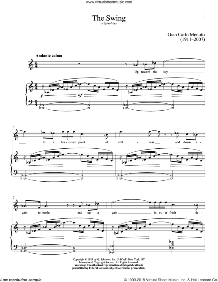 The Swing sheet music for voice and piano (High Voice) by Richard Walters and Gian Carlo Menotti, classical score, intermediate skill level