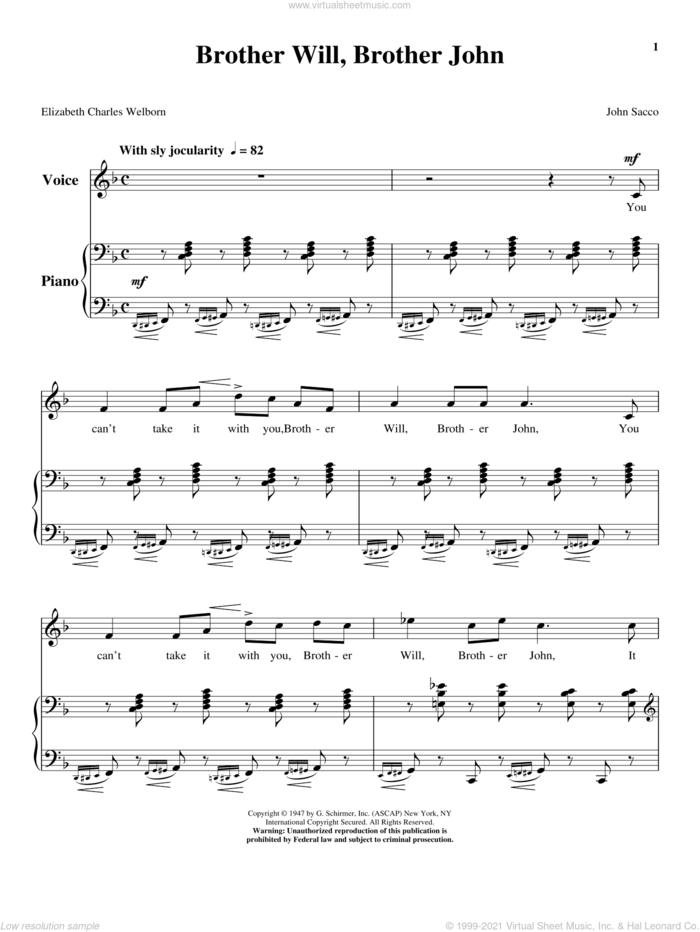 Brother Will, Brother John sheet music for voice and piano (High Voice) by John Sacco, intermediate skill level
