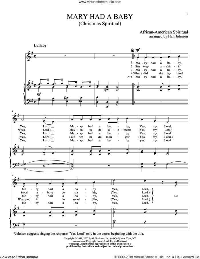 Mary Had A Baby sheet music for voice and piano (High Voice) by Hall Johnson, classical score, intermediate skill level