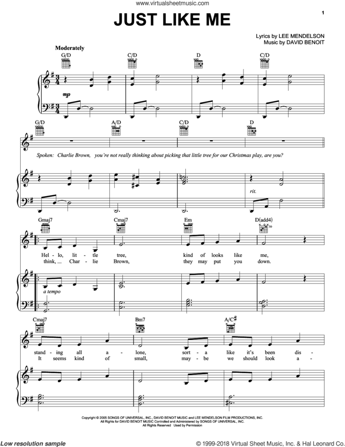 Just Like Me sheet music for voice, piano or guitar by Lee Mendelson and David Benoit, intermediate skill level