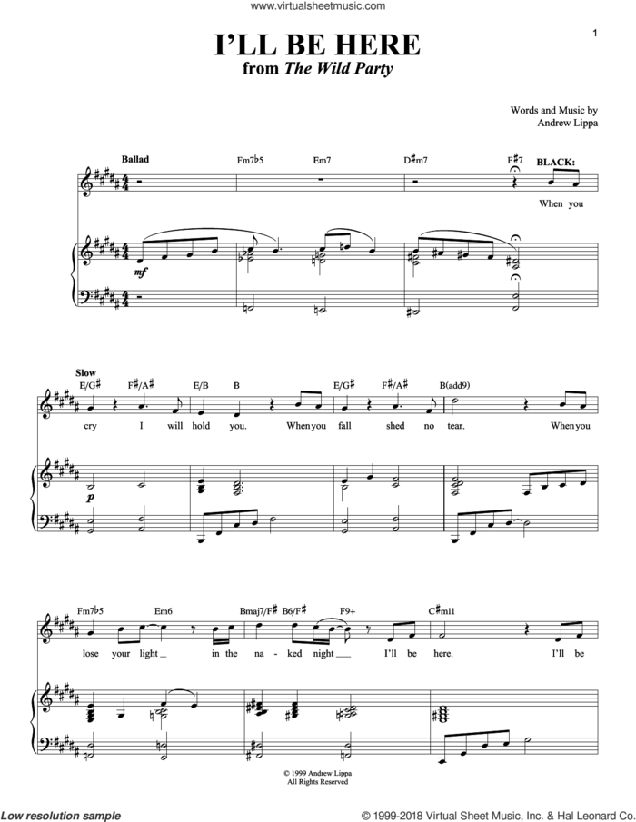 I'll Be Here sheet music for voice and piano by Andrew Lippa and Richard Walters, intermediate skill level