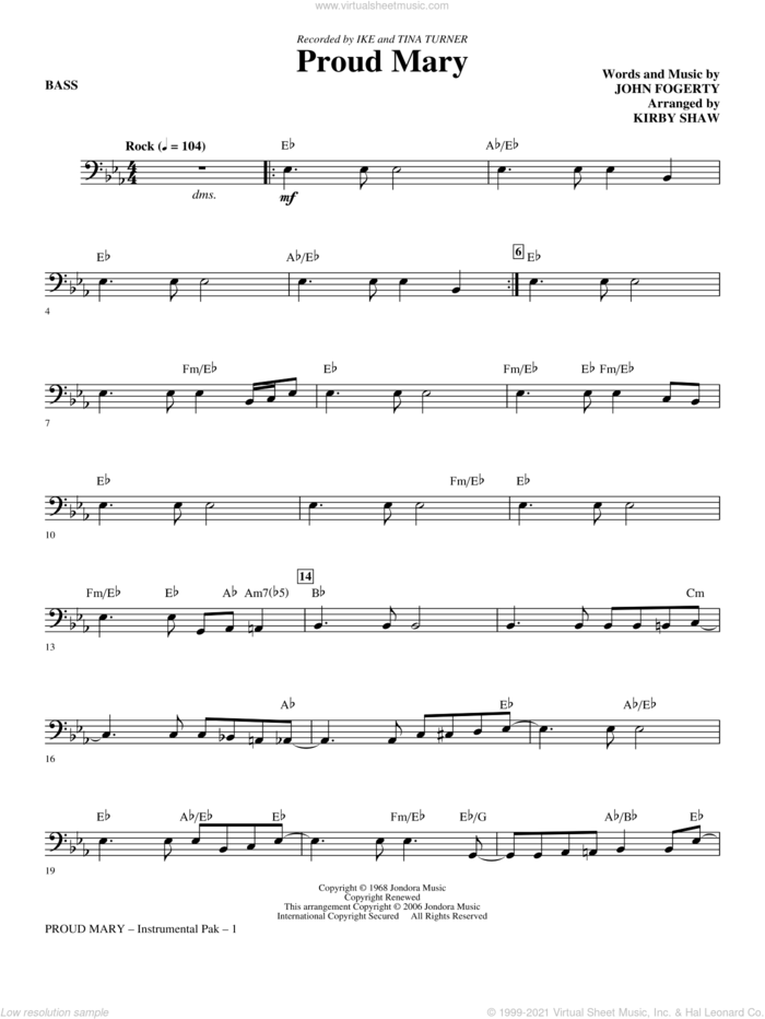 Proud Mary (arr. Kirby Shaw) sheet music for orchestra/band (bass) by John Fogerty, Creedence Clearwater Revival, Ike & Tina Turner and Kirby Shaw, intermediate skill level