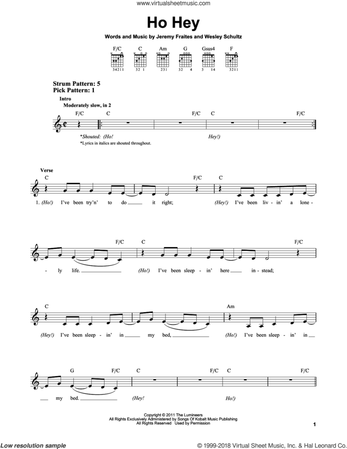 Ho Hey sheet music for guitar solo (chords) by The Lumineers, Lennon & Maisy, Jeremy Fraites and Wesley Schultz, easy guitar (chords)