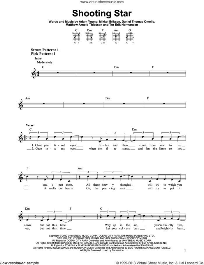 Shooting Star sheet music for guitar solo (chords) by Owl City, Adam Young, Daniel Thomas Omelio, Erik Hermansen, Matthew Arnold Thiessen and Mikkel Eriksen, easy guitar (chords)
