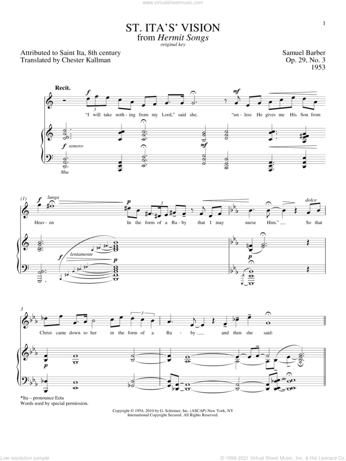 St. Ita's Vision sheet music for voice and piano (High Voice) by Samuel Barber, Richard Walters and Chester Kallmann, classical score, intermediate skill level