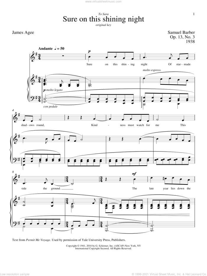 Sure On This Shining Night sheet music for voice and piano (Low Voice) by Samuel Barber, Richard Walters and James Agee, classical score, intermediate skill level