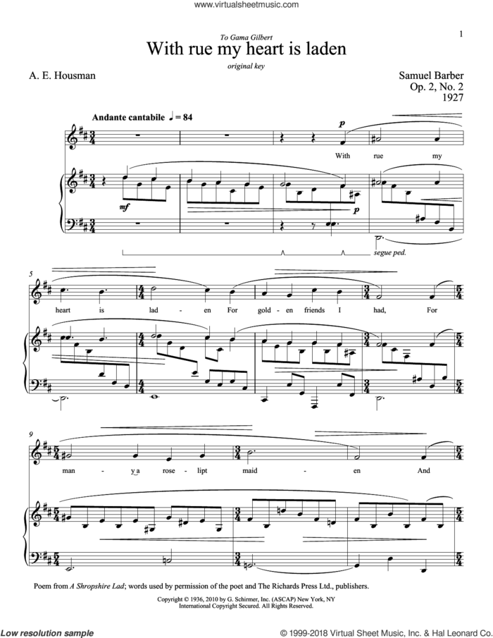 With Rue My Heart Is Laden sheet music for voice and piano (Low Voice) by Samuel Barber, Richard Walters and A.E. Housman, classical score, intermediate skill level