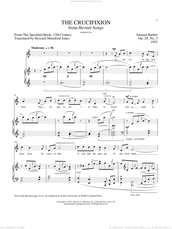 The Crucifixion sheet music for voice and piano (High Voice) by Samuel Barber and Richard Walters, classical score, intermediate skill level