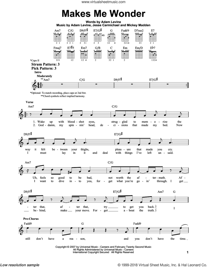 Makes Me Wonder sheet music for guitar solo (chords) by Maroon 5, Adam Levine, Jesse Carmichael and Michael Madden, easy guitar (chords)