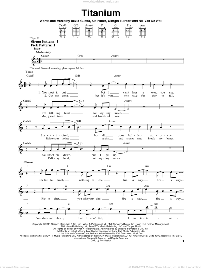 Titanium (feat. Sia) sheet music for guitar solo (chords) by David Guetta featuring Sia, Sia, David Guetta, Giorgio Tuinfort, Nick Van De Wall and Sia Furler, easy guitar (chords)