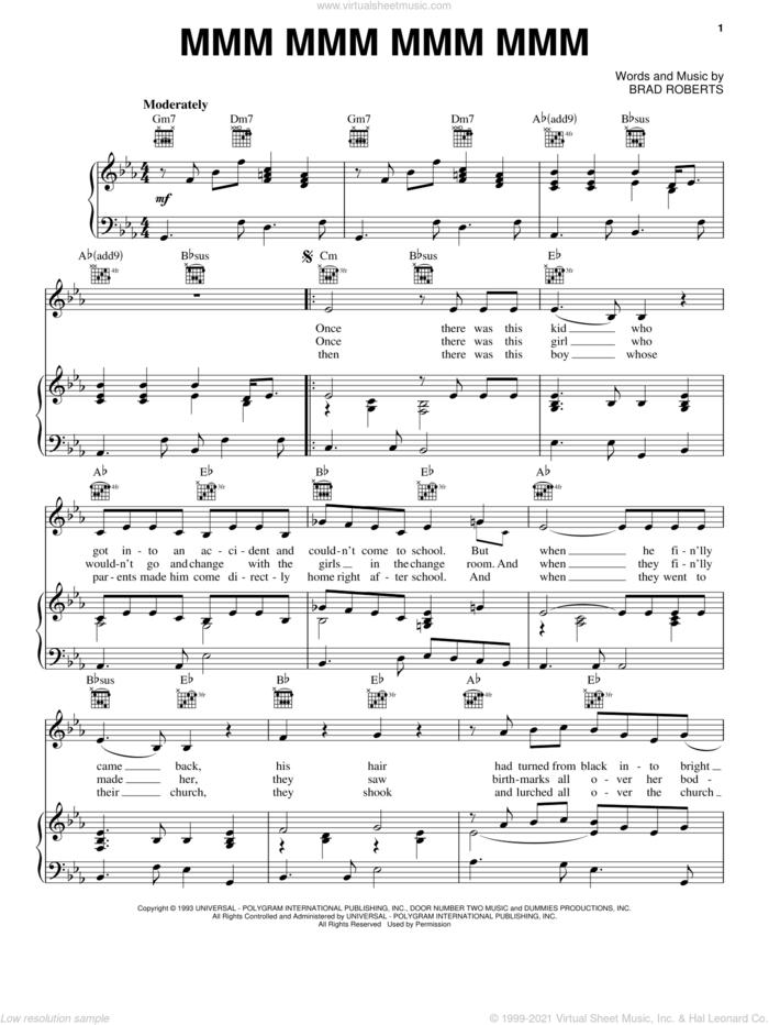 Mmm Mmm Mmm Mmm sheet music for voice, piano or guitar by Crash Test Dummies and Brad Roberts, intermediate skill level