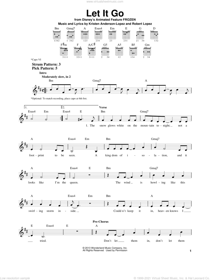 Let It Go (from Frozen) sheet music for guitar solo (chords) by Idina Menzel, Kristen Anderson-Lopez and Robert Lopez, easy guitar (chords)