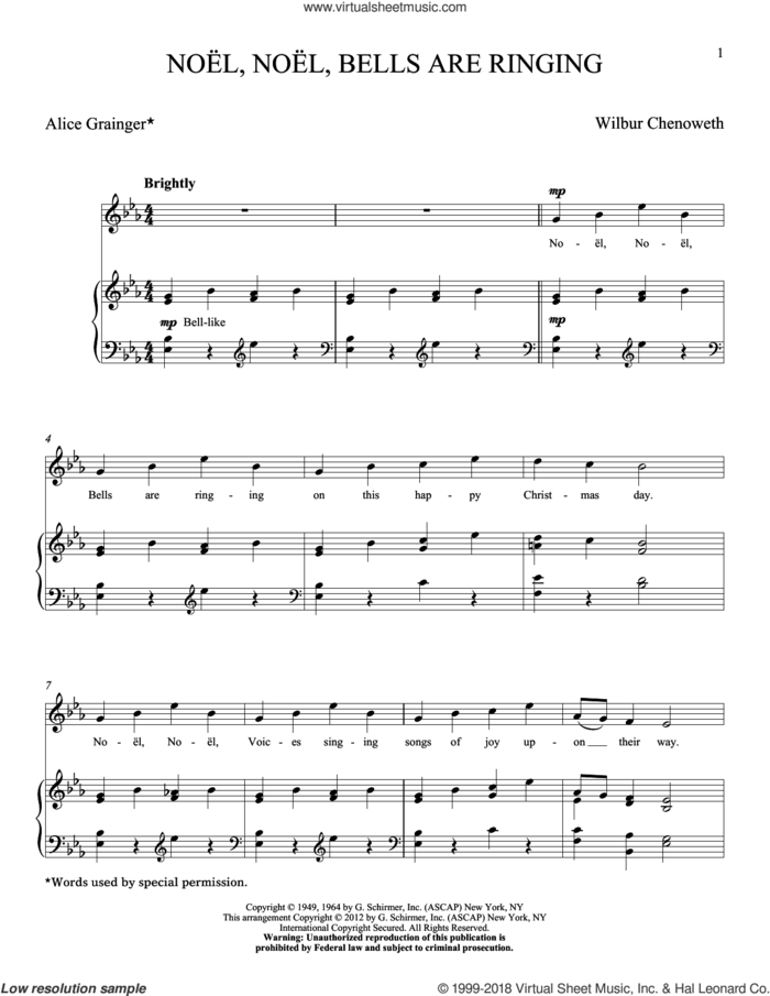 Noel, Noel, Bells Are Ringing sheet music for voice and piano (High Voice) by Wilbur Chenoweth, classical score, intermediate skill level