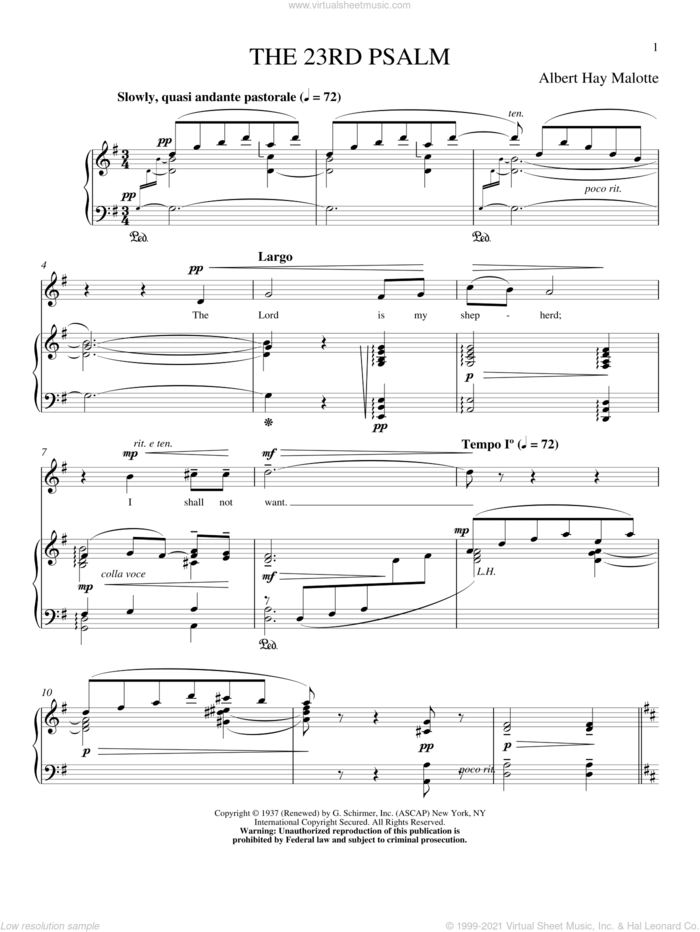 The 23rd Psalm sheet music for voice and piano (High Voice) by Albert H. Malotte, intermediate skill level