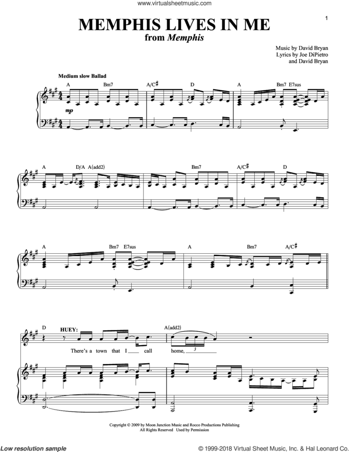Memphis Lives In Me sheet music for voice and piano by David Bryan and Joe DiPietro, intermediate skill level