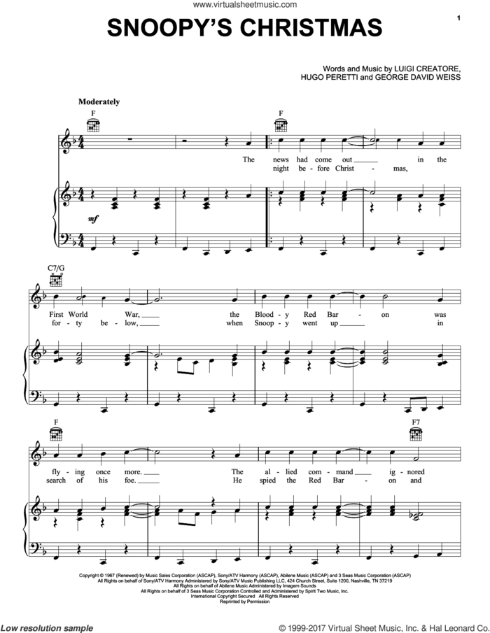 Snoopy's Christmas sheet music for voice, piano or guitar by George David Weiss, Hugo Peretti and Luigi Creatore, intermediate skill level