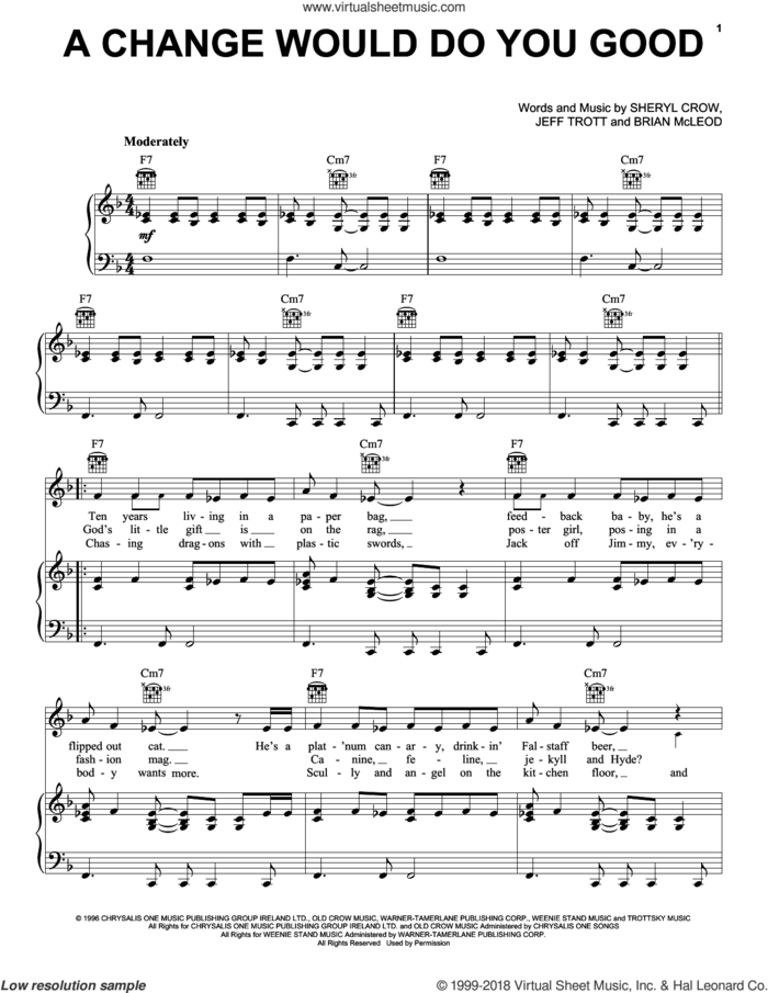 A Change Would Do You Good sheet music for voice, piano or guitar by Sheryl Crow, Brian McLeod and Jeff Trott, intermediate skill level