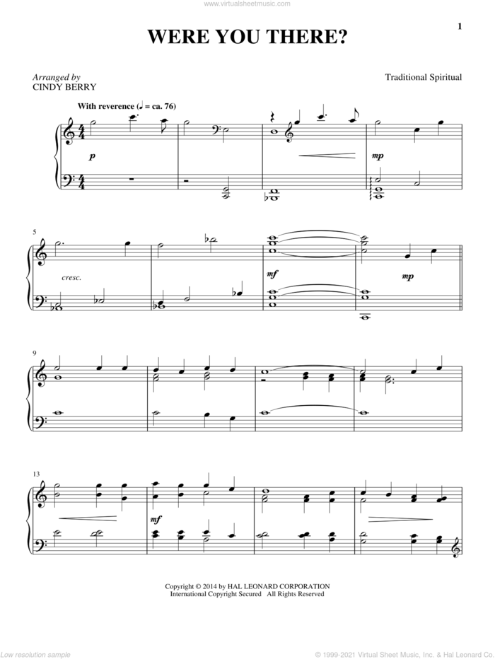 Were You There? sheet music for piano solo by Cindy Berry, Charles Winfred Douglas (Harm) and Miscellaneous, intermediate skill level