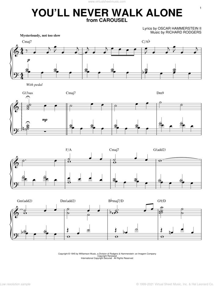 You'll Never Walk Alone [Jazz version] (arr. Brent Edstrom) sheet music for piano solo by Rodgers & Hammerstein, Oscar II Hammerstein and Richard Rodgers, intermediate skill level