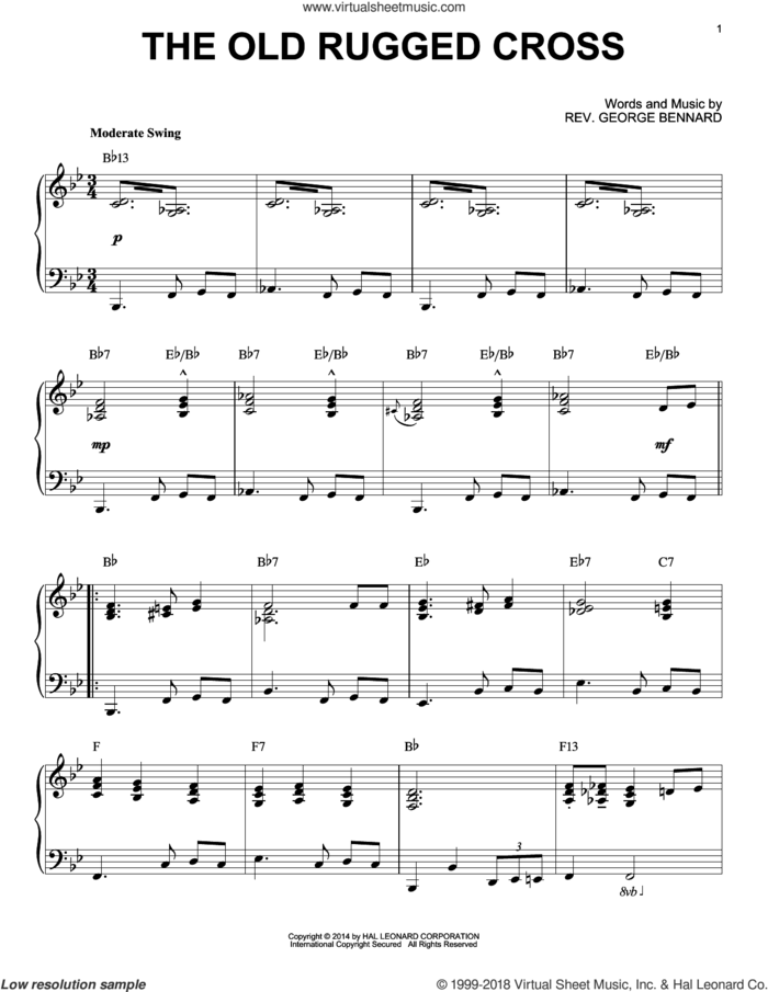 The Old Rugged Cross [Jazz version] (arr. Brent Edstrom) sheet music for piano solo by Rev. George Bennard, intermediate skill level
