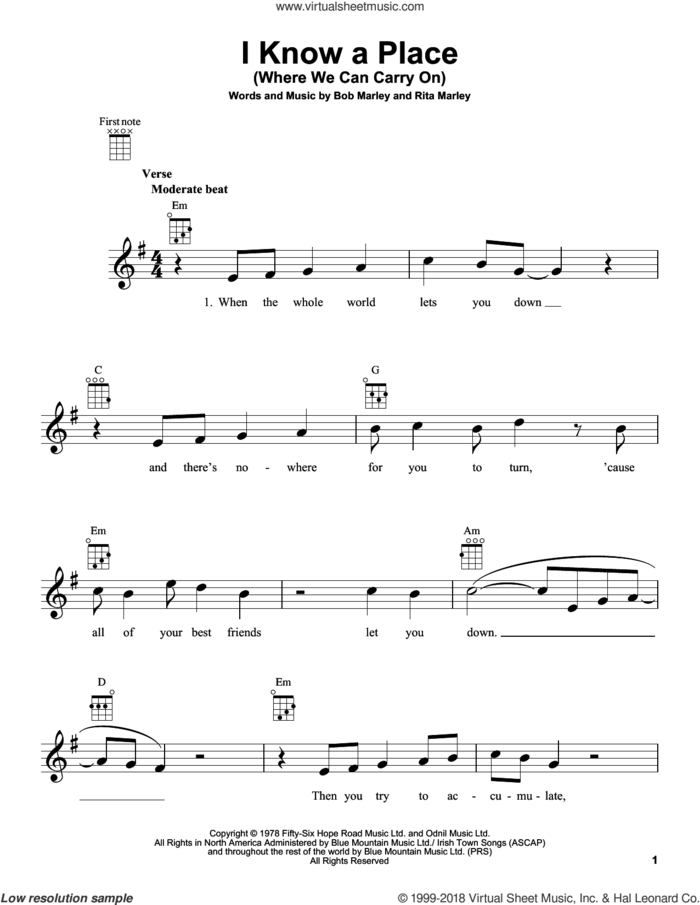 I Know A Place (Where We Can Carry On) sheet music for ukulele by Bob Marley and Rita Marley, intermediate skill level