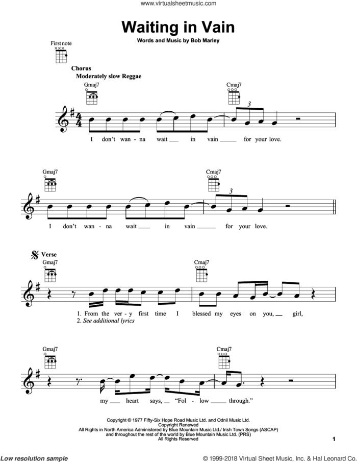 Waiting In Vain sheet music for ukulele by Bob Marley, intermediate skill level