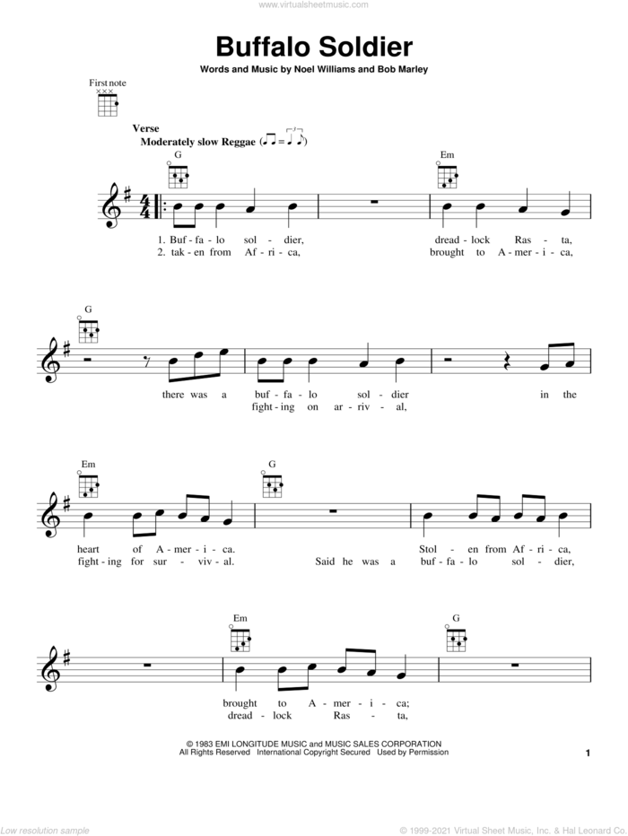Buffalo Soldier sheet music for ukulele by Bob Marley and Noel Williams, intermediate skill level