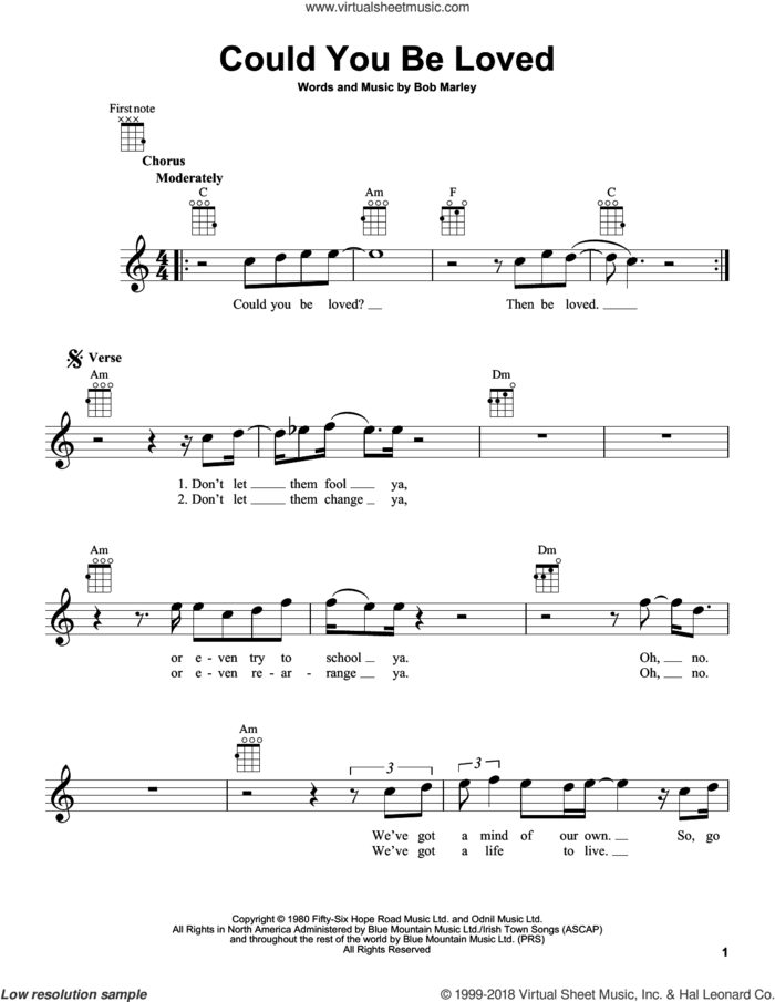 Could You Be Loved sheet music for ukulele by Bob Marley and Bob Marley and The Wailers, intermediate skill level
