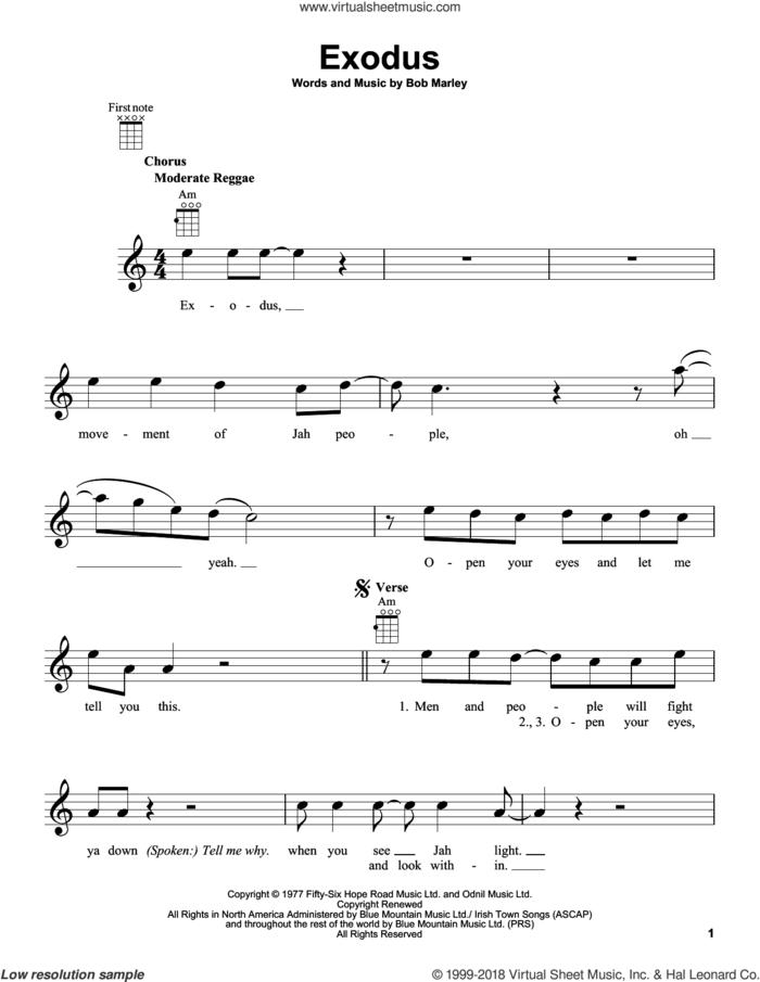 Exodus sheet music for ukulele by Bob Marley, intermediate skill level