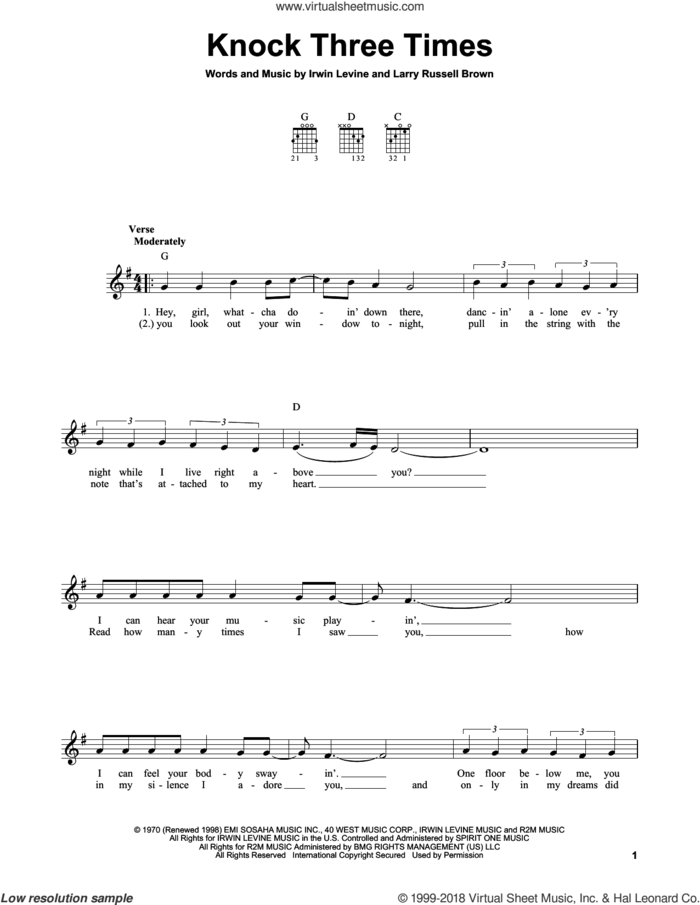 Knock Three Times sheet music for guitar solo (chords) by Dawn, Irwin Levine and L. Russell Brown, easy guitar (chords)