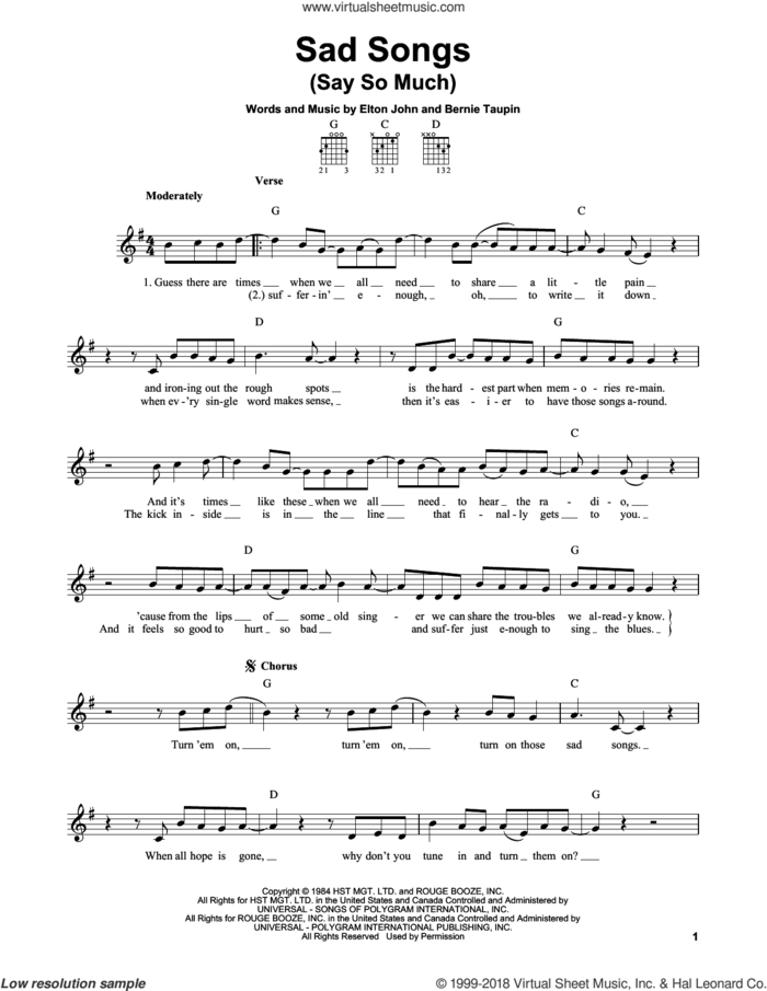 Sad Songs (Say So Much) sheet music for guitar solo (chords) by Elton John and Bernie Taupin, easy guitar (chords)