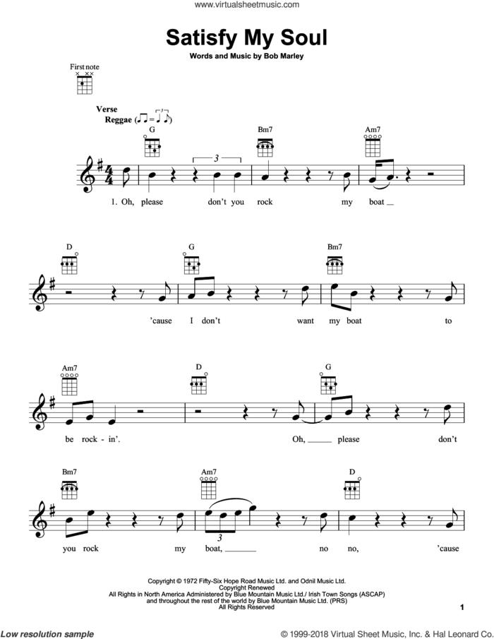 Satisfy My Soul sheet music for ukulele by Bob Marley, intermediate skill level